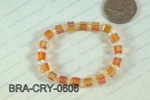 Crystal Cube Bracelet Orange 6mm BRA-CRY-0606