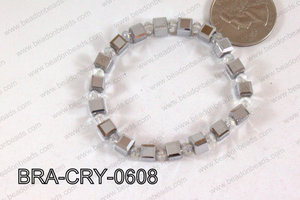 Crystal Cube Bracelet Silver 6mm BRA-CRY-0608