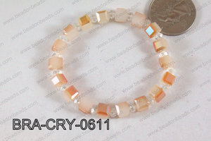 Crystal Cube Bracelet Opal/Orange 6mm BRA-CRY-0611