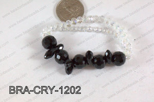 Crystal Bracelet Black 12mm BRA-CRY-1202