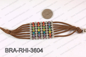 Rhinestone Bracelet Multicolor with Brown Cold 36mm BRA-RHI-3604