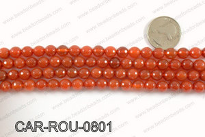 CARNELIAN FACETED ROUND 8mm CAR-ROU-0801