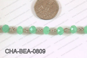 Decorative Silver Chain with 8mm Rondelle Mint Faceted Crystal C