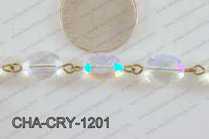 Oval Crystal Clear AB with Bronze Chain 12x8mm CHA-CRY-1201