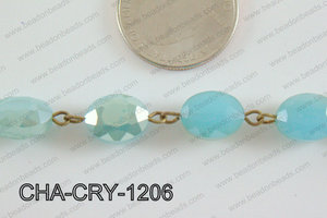Oval Crystal Turquoise with Bronze Chain 12x8mm CHA-CRY-1206