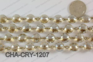 Coin Crystal Champagne with Bronze Chain 12mm CHA-CRY-1207