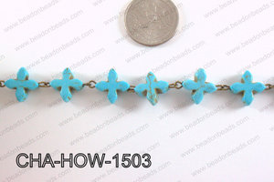 Howlite Turquiose cross with Bronze Chain 15mm CHA-HOW-1503