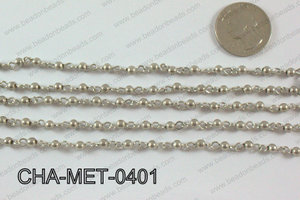 Anti Silver Metal Round Beads with Silver Chain 4mm CHA-MET-0401