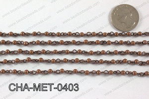 Copper Metal Round Beads with Copper Chain 4mm CHA-MET-0403