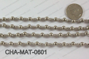 Anti Silver Metal Round Beads with Silver Chain 6mm CHA-MET-0601