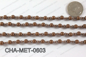 Copper Metal Round Beads with Copper Chain 6mm CHA-MET-0603