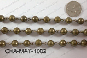 Bronze Metal Round Beads with Bronze Chain 10mm CHA-MET-1002