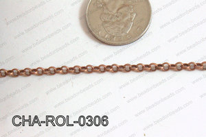 Rolo Chain Copper 3mm CHA-ROL-0306