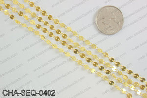 Coin sequin chain 4mm, gold CHA-SEQ-0402