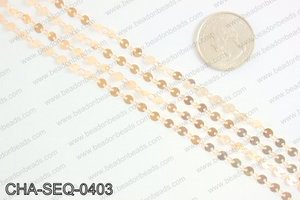 Coin sequin chain 4mm, rose gold CHA-SEQ-0403