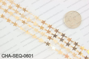Star sequin chain 6mm, KC gold CHA-SEQ-0601