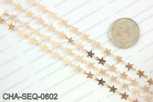 Star sequin chain 6mm, rose gold CHA-SEQ-0602