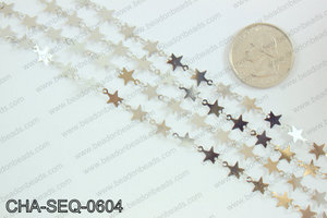 Star sequin chain 6mm, silver CHA-SEQ-0604