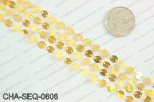 Coin sequin chain 6mm, gold CHA-SEQ-0606