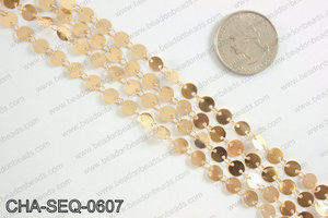 Coin sequin chain 6mm, rose gold CHA-SEQ-0607