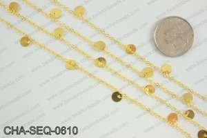 Coin dangle sequin chain 6mm, gold CHA-SEQ-0610