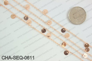 Coin dangle sequin chain 6mm, rose gold CHA-SEQ-0611