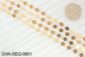 Diamond sequin chain 6x8mm, KC gold CHA-SEQ-0801