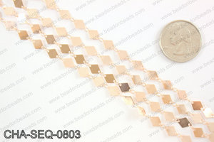 Diamond sequin chain 6x8mm, rose gold CHA-SEQ-0803