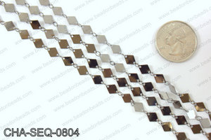 Diamond sequin chain 6x8mm, gunmetal CHA-SEQ-0804