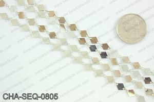 Diamond sequin chain 6x8mm, silver CHA-SEQ-0805