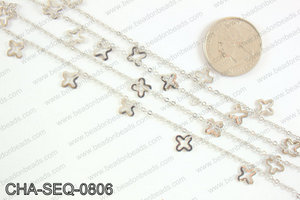 Dangle cross sequin chain 8x8mm, silver CHA-SEQ-0806