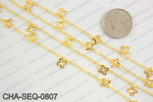 Dangle cross sequin chain 8x8mm, gold CHA-SEQ-0807
