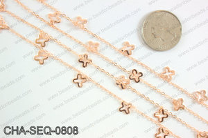Dangle cross sequin chain 8x8mm, rose gold CHA-SEQ-0808