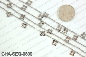 Dangle cross sequin chain 8x8mm, gunmetal CHA-SEQ-0809