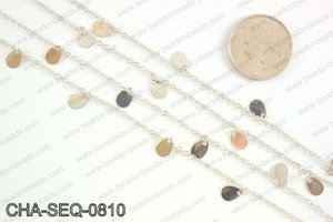 Dangle teardrop sequin chain 8x5mm, silver CHA-SEQ-0810