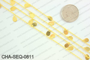 Dangle teardrop sequin chain 8x5mm, gold CHA-SEQ-0811