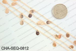 Dangle teardrop sequin chain 8x5mm, rose gold CHA-SEQ-0812