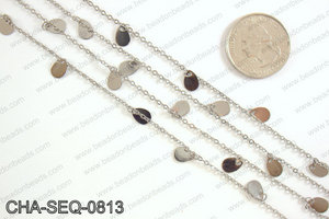 Dangle teardrop sequin chain 8x5mm, gunmetal CHA-SEQ-0813