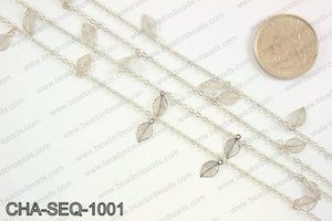 Dangle leaf sequin chain 10x5mm, silver CHA-SEQ-1001