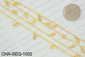 Dangle leaf sequin chain 10x5mm, gold CHA-SEQ-1002