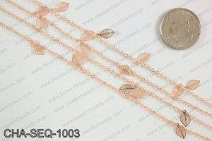 Dangle leaf sequin chain 10x5mm, rose gold CHA-SEQ-1003