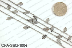 Dangle leaf sequin chain 10x5mm, gunmetal CHA-SEQ-1004
