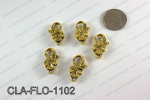 Flower Lobster Clasp, Gold 11x25mm CLA-FLO-1102