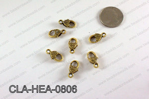 Designed Heart Lobster Clasp, Gold 8x18mm CLA-HEA-0806