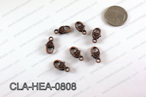 Designed Heart Lobster Clasp, Copper 8x18mm CLA-HEA-0808