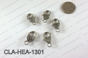 Designed Heart Lobster Clasp, Silver 13x26mm CLA-HEA-1301