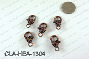 Designed Heart Lobster Clasp, Copper 13x26mm CLA-HEA-1304