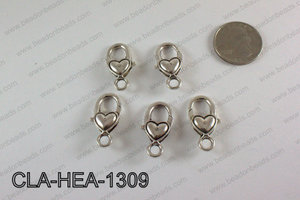 Heart Lobster Clasp, Silver 13x26mm CLA-HEA-1309
