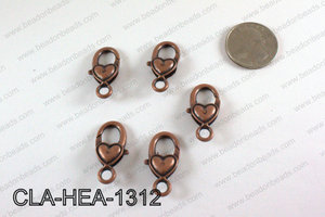 Heart Lobster Clasp, Copper 13x26mm CLA-HEA-1312