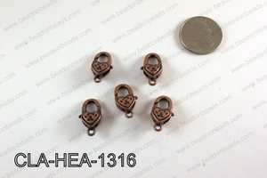 Heart Lobster Clasp, Copper 10x20mm CLA-HEA-1316